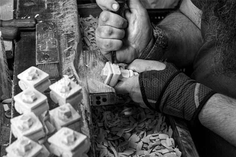 在木雕家` s商店02 -克拉科夫05 2018年 图库摄影