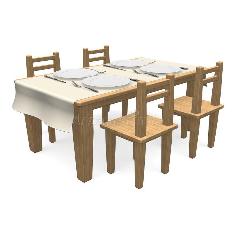 在木餐桌上的利器 皇族释放例证
