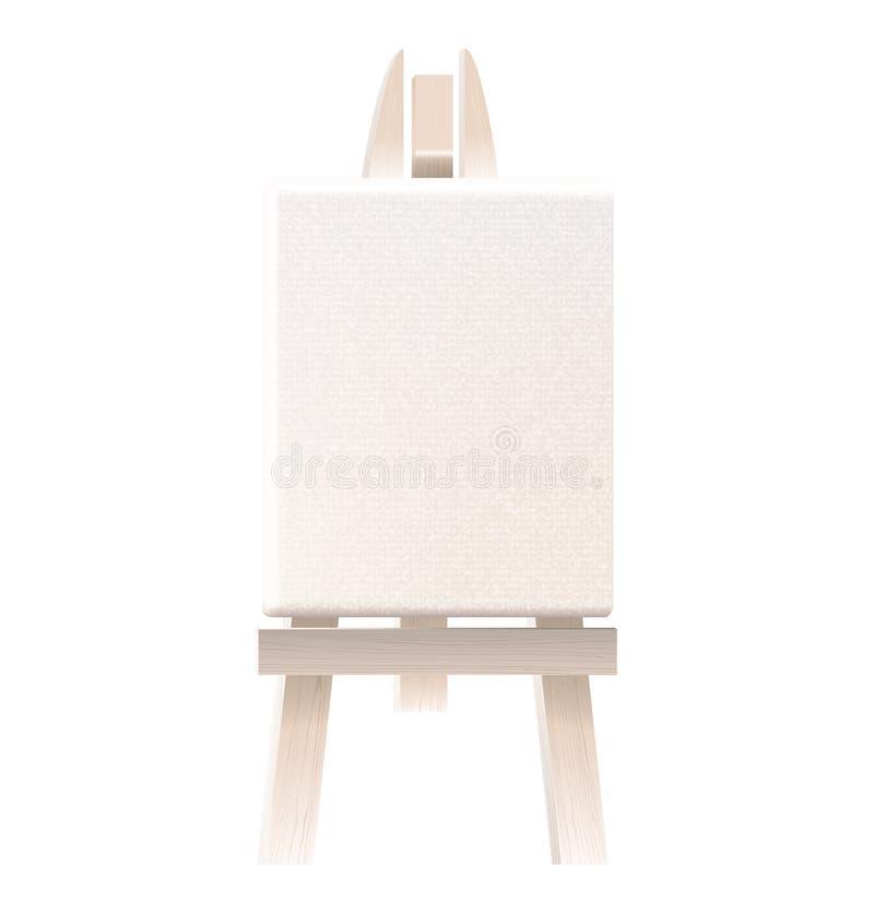 在木画架的空的空白的帆布 库存照片