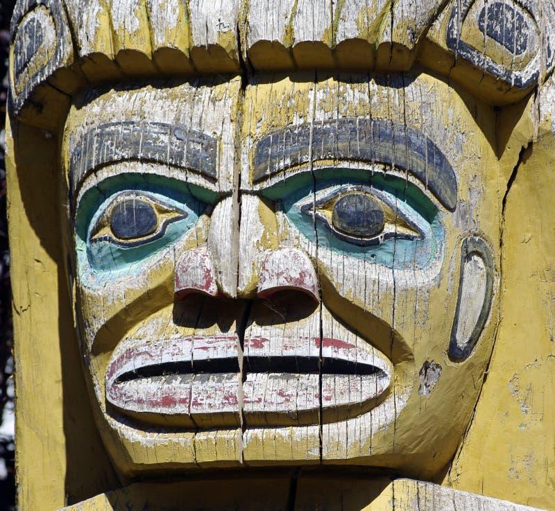 在木头-海岸Salish原史图象的面孔 库存图片