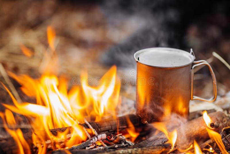 在木头的旅行钛杯子在森林背景 在t期间的午餐 库存照片