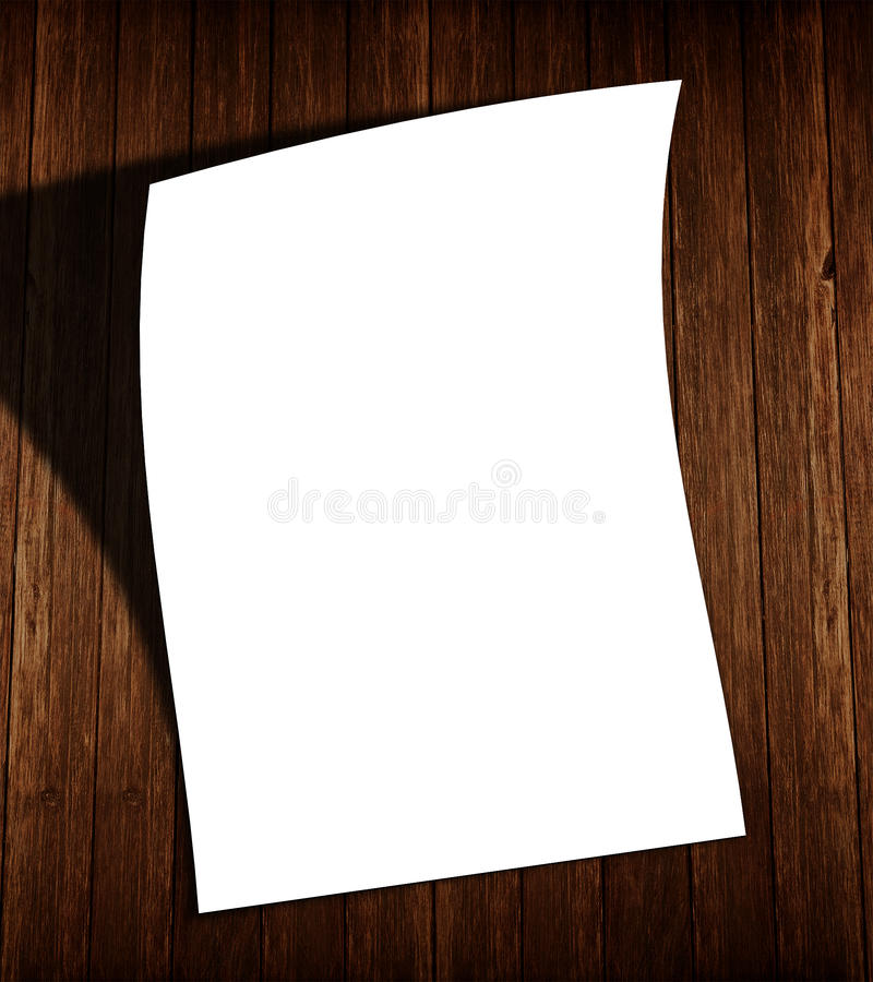 在木头的白色空白的飞行物与阴影 免版税图库摄影