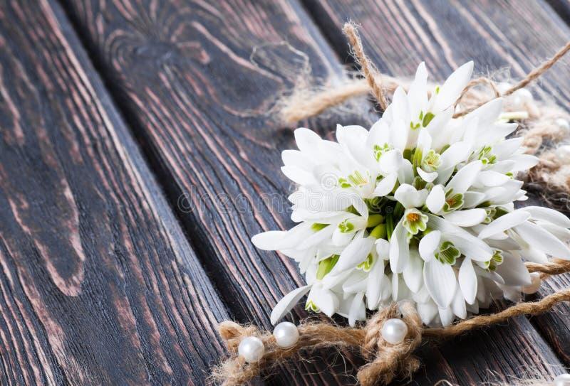 在木头的Snowdrops束 免版税库存照片