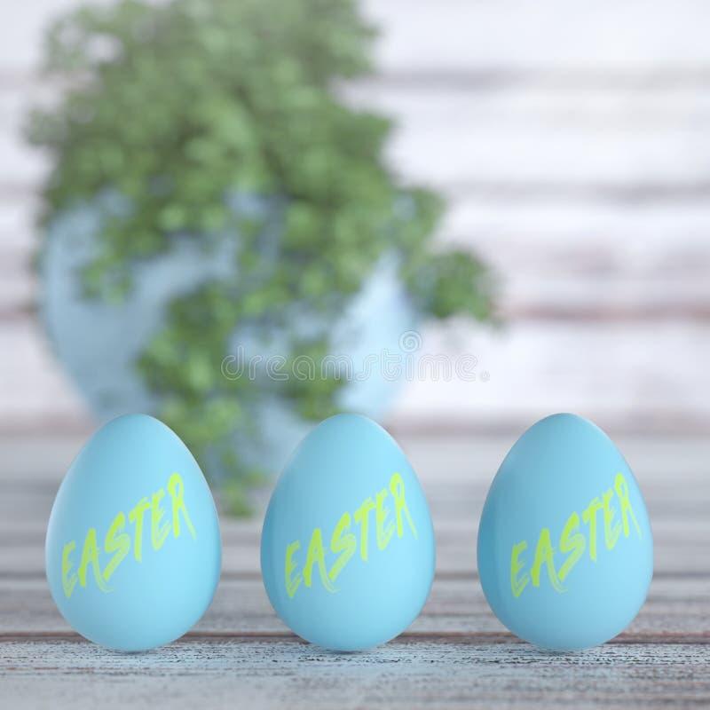 在木Bord表上的蓝色发光的复活节彩蛋 3d翻译 向量例证