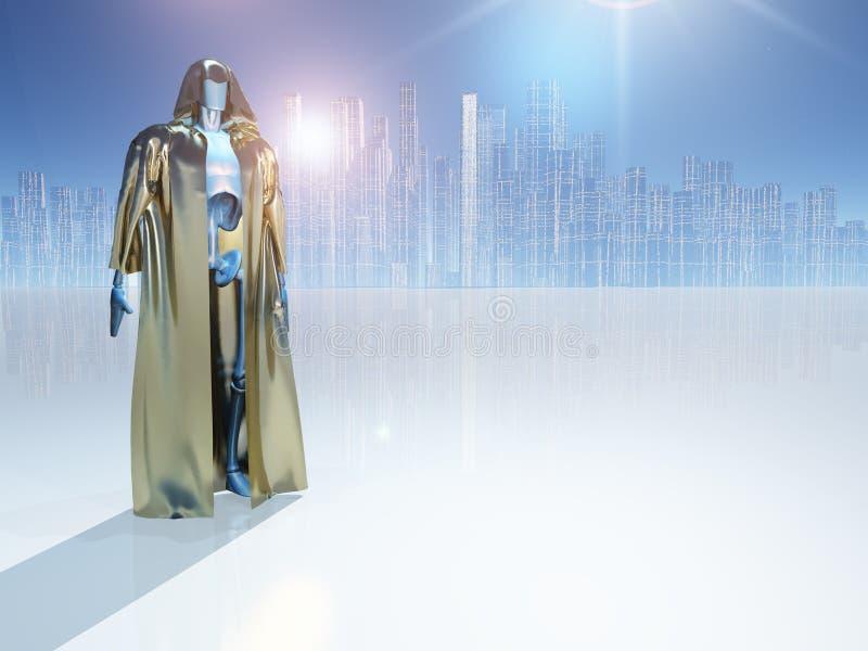 在未来城市前的Droid 皇族释放例证