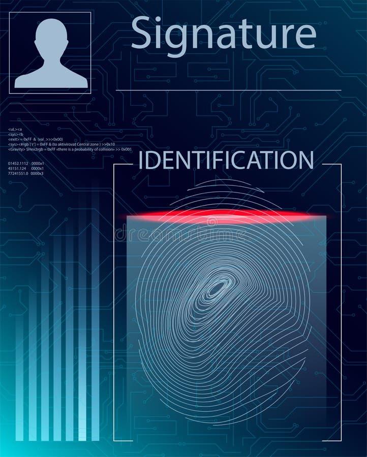 在未来派样式的手指扫描 与未来派HUD接口的生物统计的id 皇族释放例证