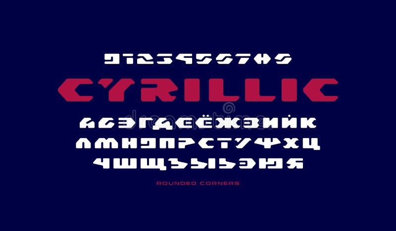 在未来派样式的斯拉夫语字母的钢板蜡纸板材Sans Serif字体 皇族释放例证