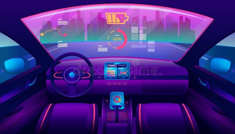 在未来派自驾驶的汽车沙龙的里面看法 皇族释放例证