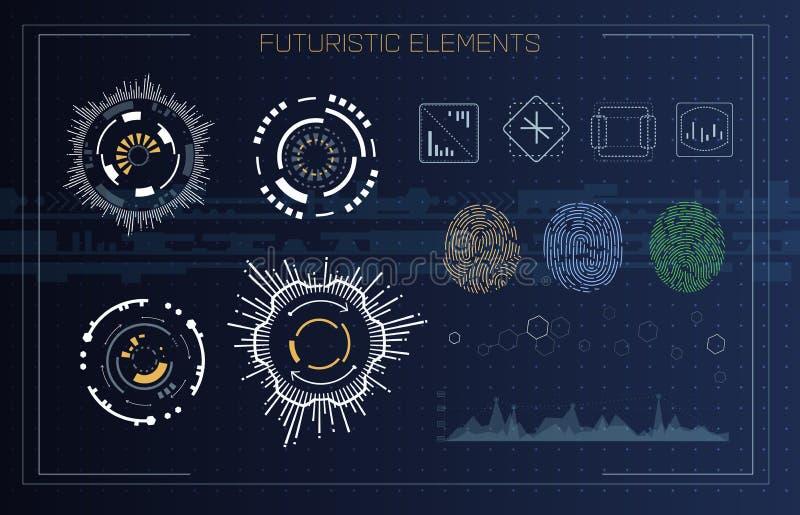 在未来派HUD样式的指纹扫描的鉴定系统 生物统计的接口 生物统计的公认 皇族释放例证