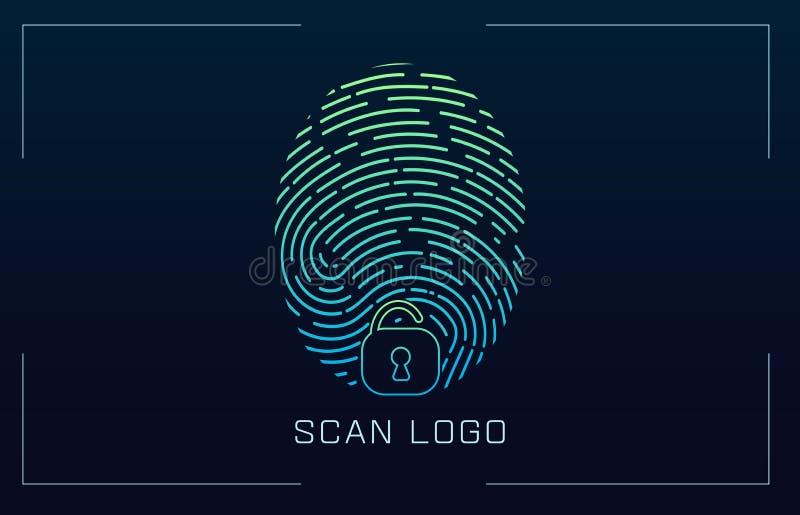 在未来派HUD样式的指纹扫描的鉴定系统 生物统计的接口 生物统计的公认 库存例证