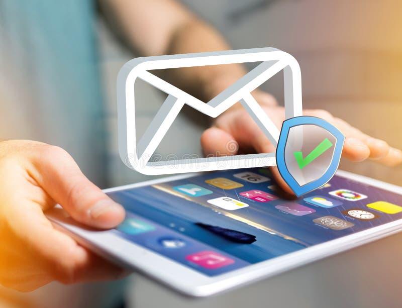 在未来派int显示的被批准的和被核实的电子邮件标志 库存图片
