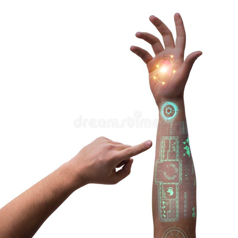 在未来派概念的人的机器人手 向量例证