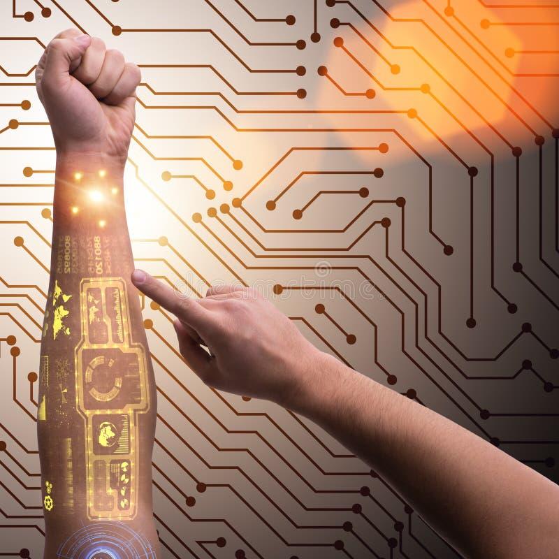 在未来派概念的人的机器人手 库存图片