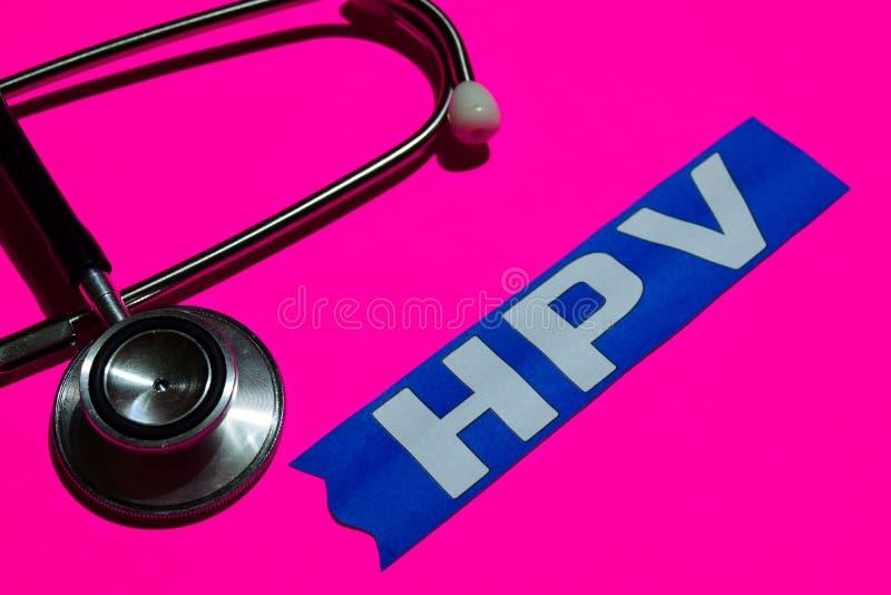 在本文的HPV与医疗保障概念 免版税库存照片