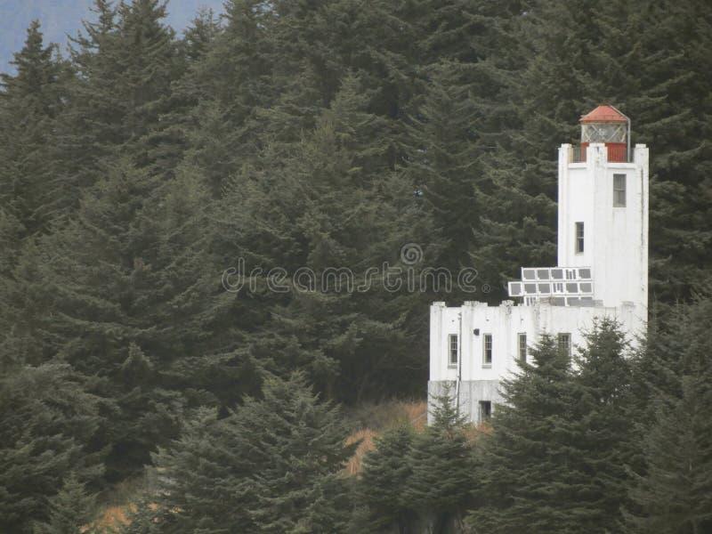 在朱诺阿拉斯加附近的历史的灯塔 库存图片