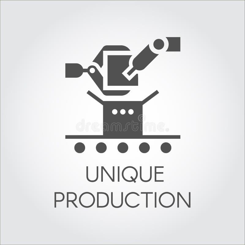 在机器人胳膊和传动机平的样式的黑象  独特的生产的概念 也corel凹道例证向量 皇族释放例证