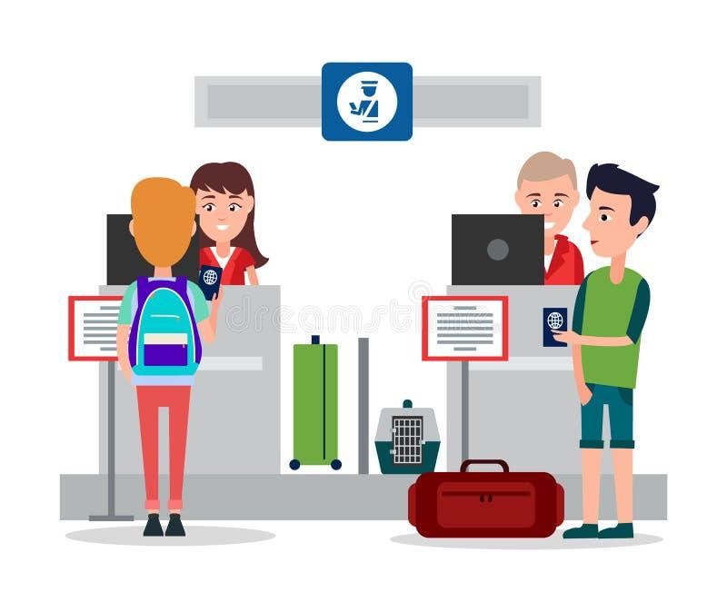在机场传染媒介例证的护照管制 库存例证