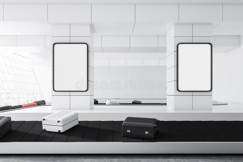在机场传送带的白色黑手提箱 向量例证
