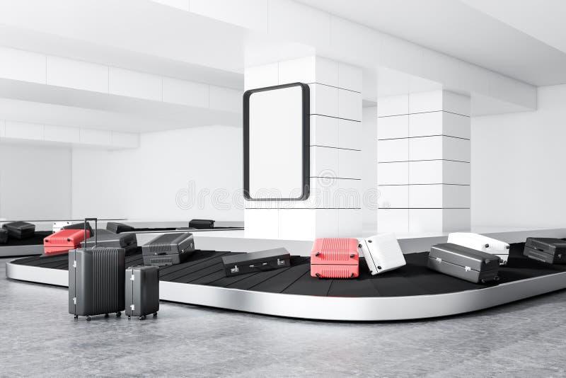在机场传送带,海报的手提箱 向量例证