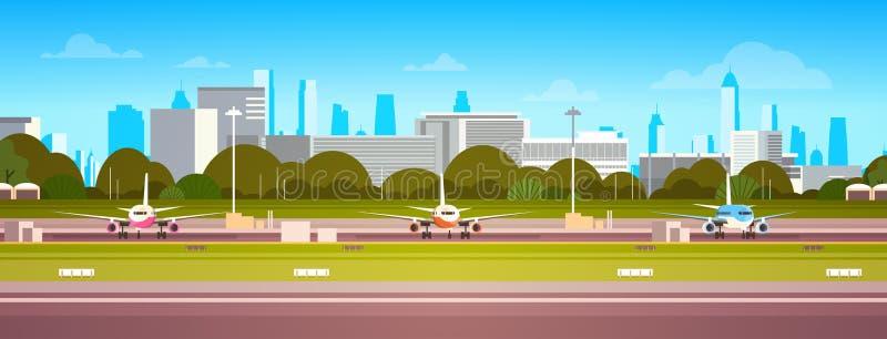 在机场大厦的飞机,有飞机的现代终端在等待的跑道离开现代城市背景 向量例证