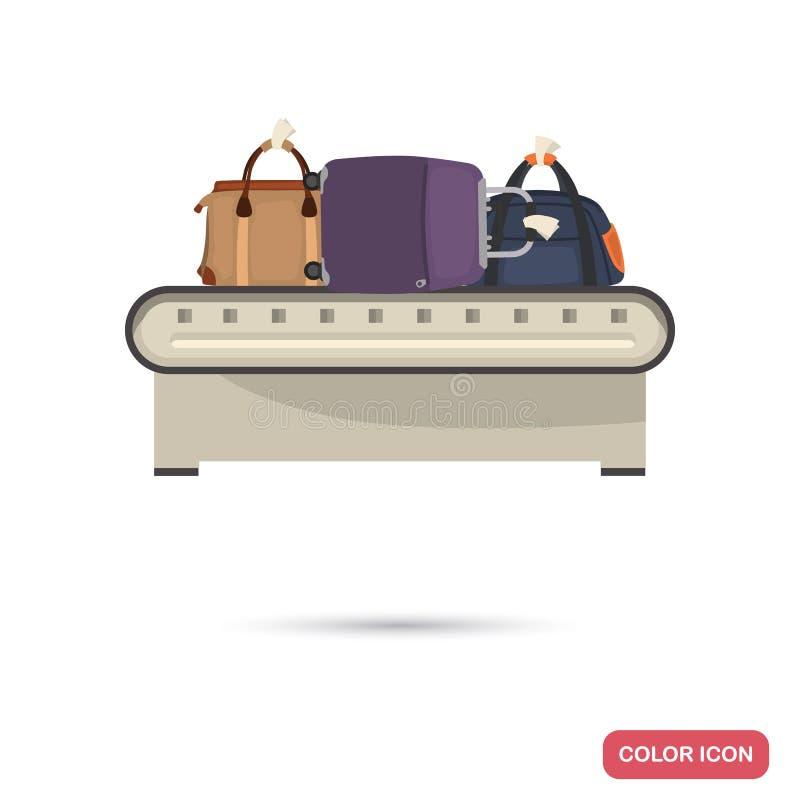 在机场控制传送带颜色平的象的行李 向量例证