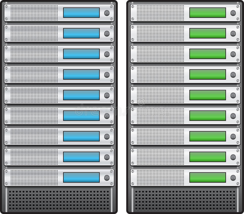在机架安装的服务器 库存例证