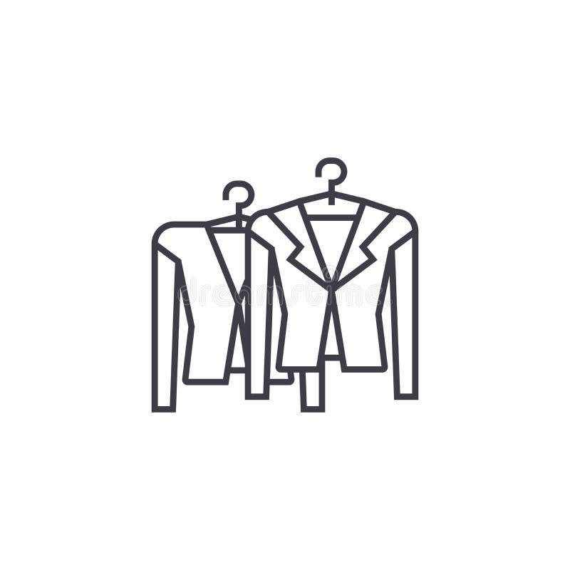 在机架的衣物导航线象,标志,在背景,编辑可能的冲程的例证 皇族释放例证
