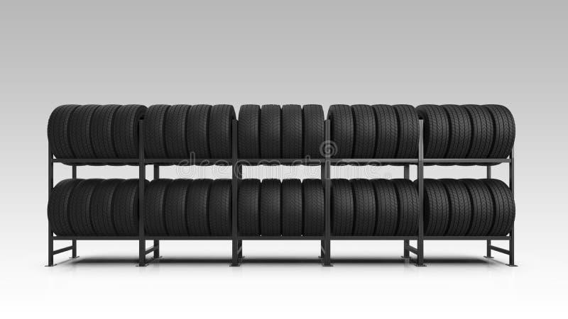 在机架的车胎 在机架的车胎 3d例证 库存照片