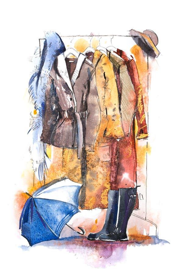 在机架,辅助部件的妇女衣物塑造成套装备 购物 皇族释放例证