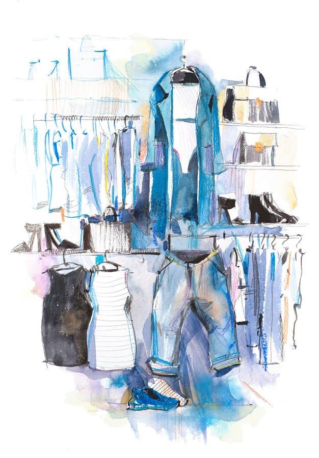 在机架,辅助部件的妇女衣物塑造成套装备 购物 库存例证