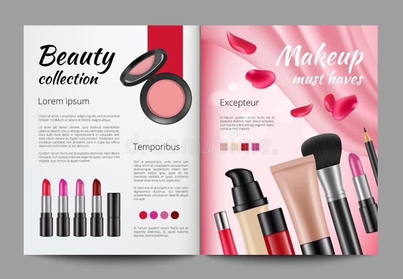 在杂志的广告化妆用品 妇女杂志设计模板  库存例证