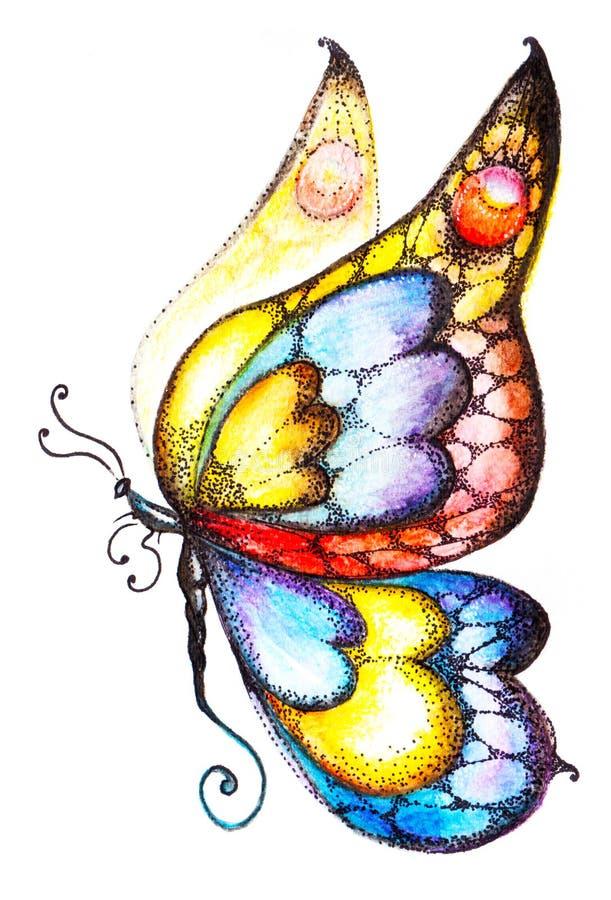 在杂色的颜色的意想不到的蝴蝶在外形的白色背景 皇族释放例证