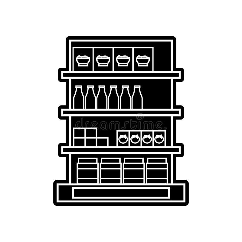 在杂货店象的架子 Hipermarket的元素流动概念和网应用程序象的 r 向量例证