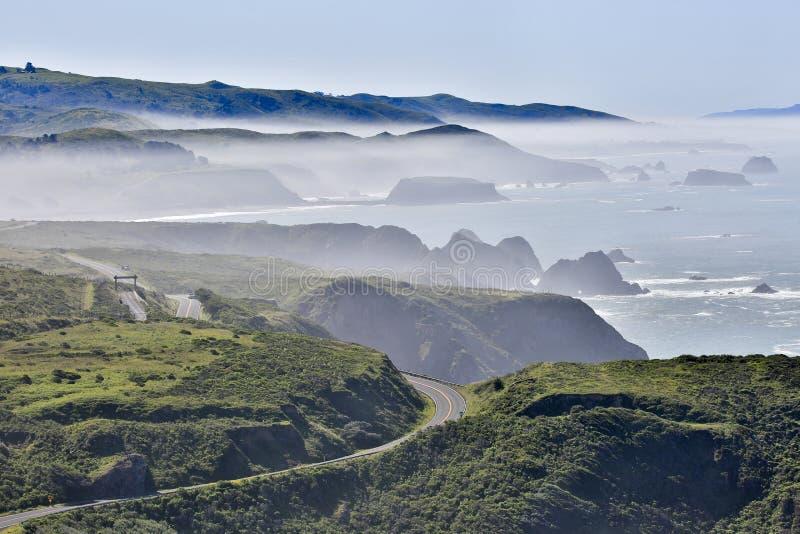 在杂货店海湾的有雾的早晨,索诺马县,加利福尼亚的太平洋海岸 免版税图库摄影
