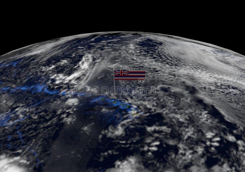在杆的夏威夷旗子在地球地球例证 库存例证