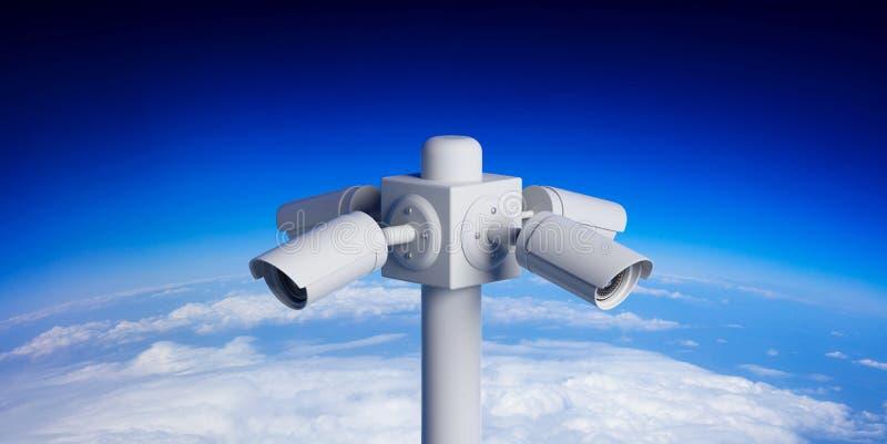 在杆的安全监控相机CCTV在天空蔚蓝背景 3d例证 向量例证