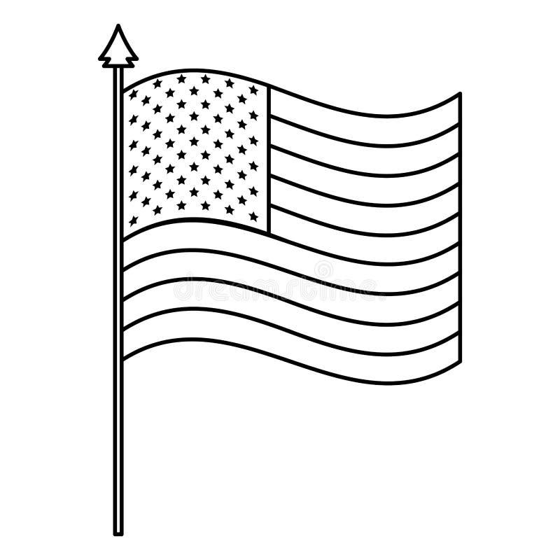 在杆的美国旗子 皇族释放例证
