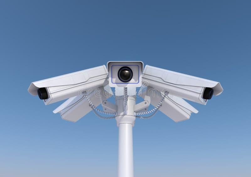 在杆的6部安全监控相机 皇族释放例证