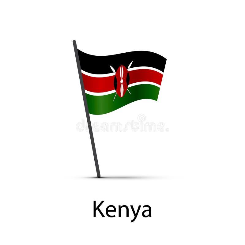 在杆,在白色的infographic元素的肯尼亚旗子 库存例证