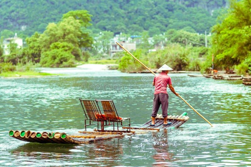 在李河的竹子在阳朔中国 免版税库存照片