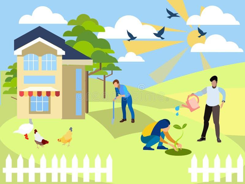 在村庄的周末,农学 家庭在庭院里工作 在最低纲领派样式动画片平的传染媒介 库存例证