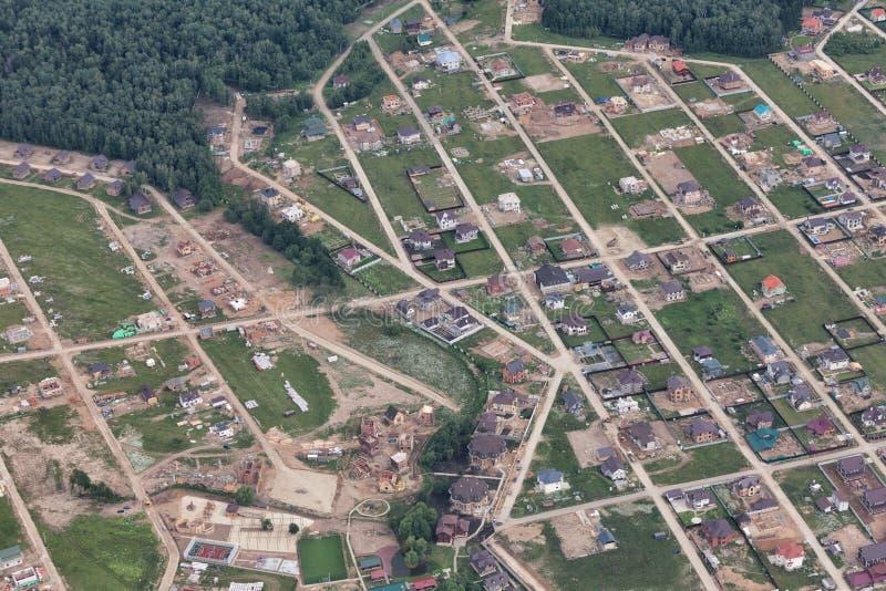 在村庄解决的顶视图 库存图片