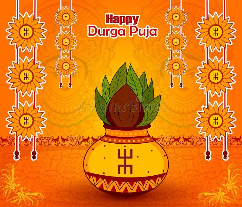 在杜尔加Puja的传统Kalash愉快的Dussehra或Shubh Navratri节日的 库存例证