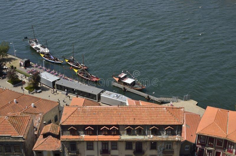 在杜罗河河的Rabelo小船 库存照片