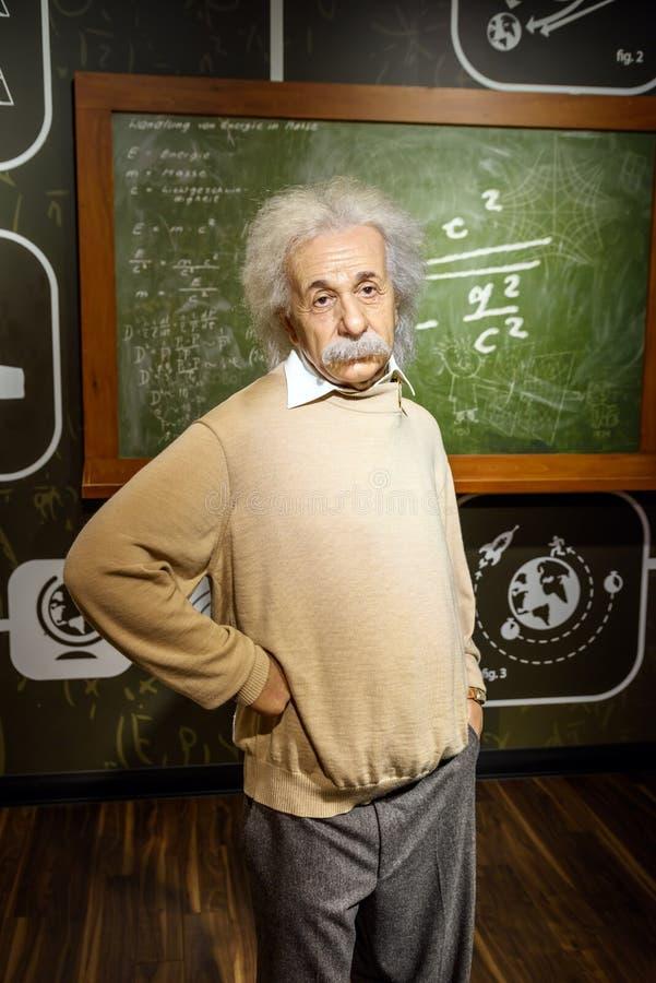 在杜莎夫人蜡象馆蜡博物馆的阿尔伯特・爱因斯坦小雕象 免版税库存照片