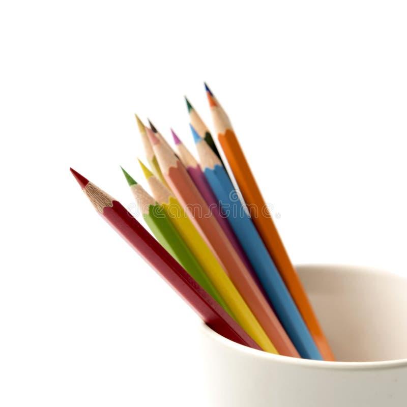 在杯子的五颜六色的铅笔 库存照片