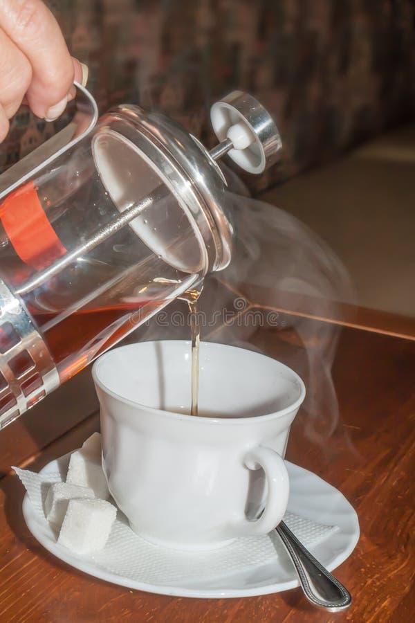 给在杯子的人的手一些茶 图库摄影