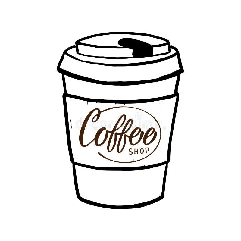 在杯子的咖啡馆现代商标 时髦在上写字的文本模板 向量例证