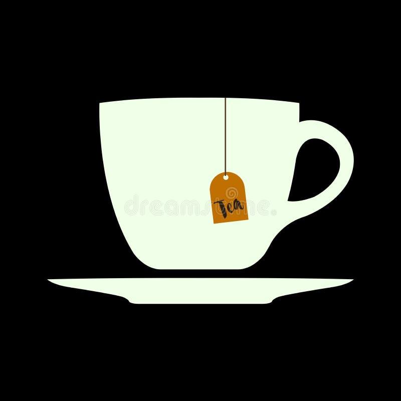 在杯子的温暖的茶 库存例证