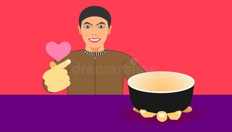 在杯子的自由空间您的食物促进的 一个人显示一件商品并且给建议使用的膳食的一只微型心脏手 r 向量例证